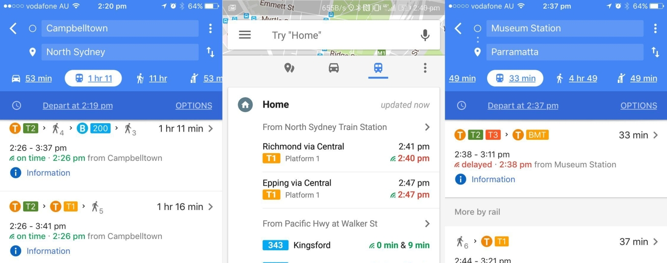 Public transport Sydney in Google maps