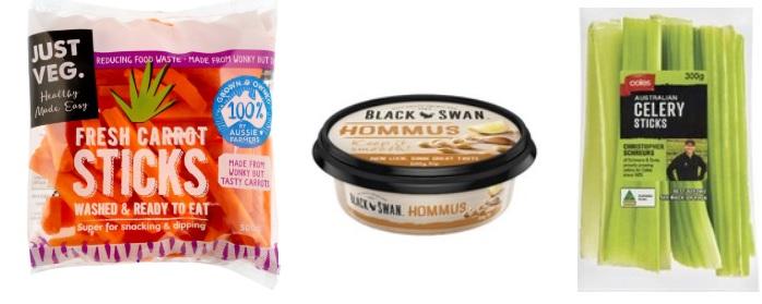 carrot sticks, celery sticks and hommus dip